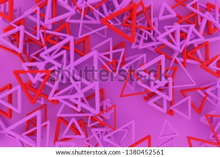 View from top, bunch of triangle  star, CGI geometric. For web page, wallpaper, graphic design, catalog, texture or background. 3D render. #1380452561