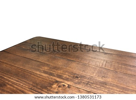 Perspective view of wood or wooden table corner on white background including clipping path #1380531173