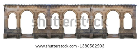 Elements of architecture of buildings, ancient arches, columns, windows and apertures. On the streets in Catalonia, public places. Royalty-Free Stock Photo #1380582503