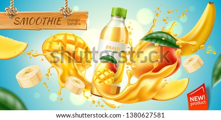 Realistic mango and banana fruit juice advertising with bottle in juicy fruit splash with slices, green leaves. Banana slices, mango cubes in juice explosion flow. Vector product package design. #1380627581