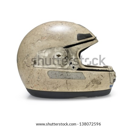 Crashed motorcycle helmet on white background. Clipping path Royalty-Free Stock Photo #138072596