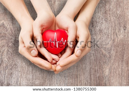 Close-up red Heart in hands, love concept          - Image #1380755300