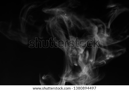 white smoke overlay effect on solid super black background. Nature motion smoky steam wave abstract environment pollution, cloud, cigarette, gas, dry ice, chemistry, factory and ghost concept #1380894497