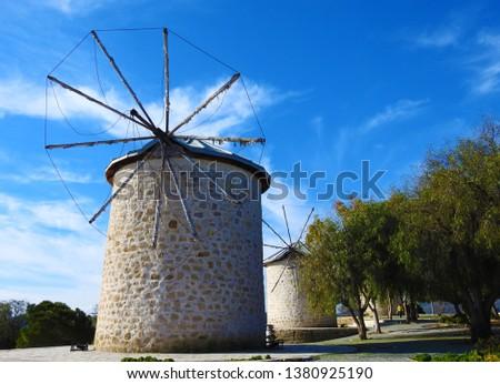 Windmill in the morning in Izmir Alacati. #1380925190