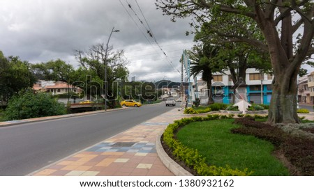Inmaculada Concepcion Loja, Loja / Ecuador - April 12 2019: View of the bridge over the Zamora river on Emiliano Ortega Avenue #1380932162