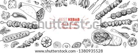 Doner kebab cooking and ingredients for kebab, sketch illustration. Arabic cuisine frame. Fast food menu design elements. Shawarma hand drawn frame. Middle eastern food.  #1380935528