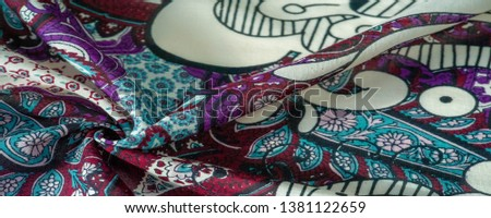 Background texture. cotton women scarf black and white pattern on one side of the scarf and color paisley pattern on the other side #1381122659
