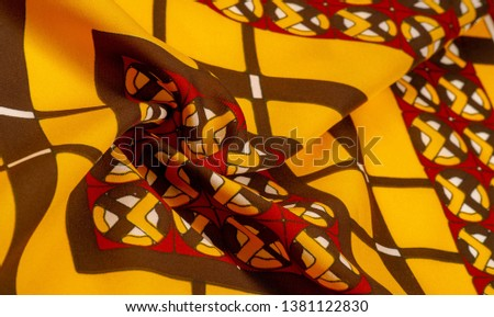 Background texture. silk bright fabric Mosaic geometric shapes Composition with colorful stained glass Grid design Illustration red yellow brown colors #1381122830