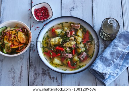 Lamb soup with vegetables and potatoe  #1381289696