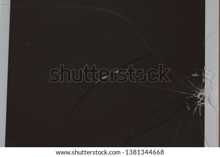 Broken smartphone screen close up - phone repair, background texture with a place for text #1381344668
