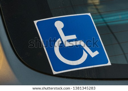 Sign disabled wheelchair sticker to identify the disability and preferences #1381345283
