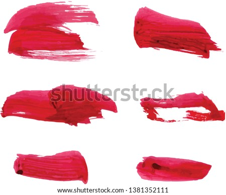 Vector collection of watercolor grunge, brush, red paint, strokes. Abstract grunge banner. Brush stroke background. #1381352111