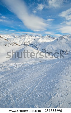 Snowy mountain landscape in austrian ski resort #1381385996