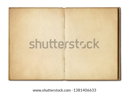 Old vintage open book isolated on white background Royalty-Free Stock Photo #1381406633