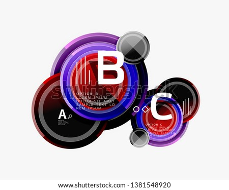Colorful glossy circles background. Vector #1381548920