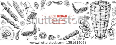 Doner kebab cooking and ingredients for kebab, sketch illustration. Arabic cuisine frame. Fast food menu design elements. Shawarma hand drawn frame. Middle eastern food.  #1381616069