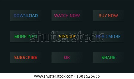 Set of isolated black web icons or buttons for website, homepage, internet or social media. Vector design. #1381626635