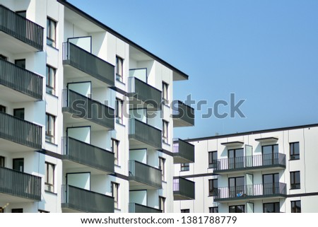 Architectural details of modern apartment building #1381788779