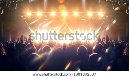 Concert shot, a huge crowd is standing in front of a lit stage clapping a band performance #1381802537