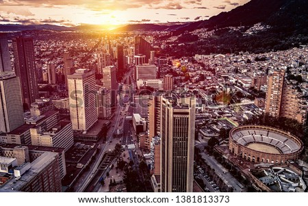 Panoramic aerial view of downtown Bogota Colombia on a beautiful golden sunset. #1381813373