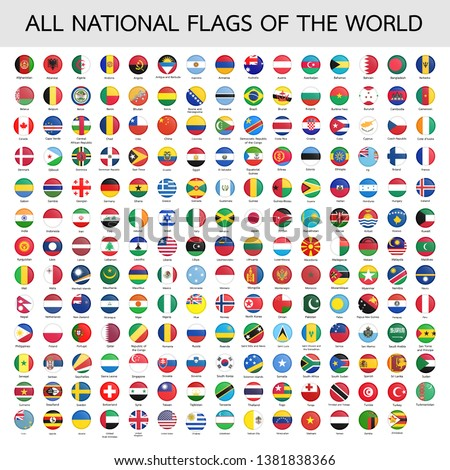 All official national flags of the world . circular design .Vector #1381838366