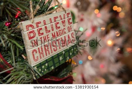 A Christmas Ornament on an Artificial Fir Tree in Estes Park, Colorado #1381930154
