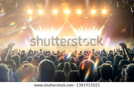 Concert shot, a huge crowd is standing in front of a lit stage clapping a band performance #1381955021