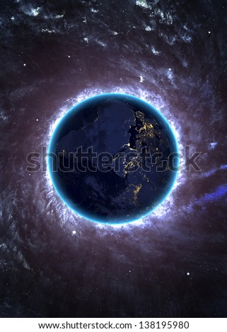 Beautiful space background with the Earth. Elements of this image furnished by NASA #138195980