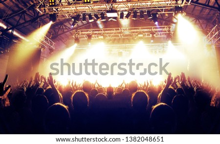 Concert shot, a huge crowd is standing in front of a lit stage clapping a band performance #1382048651