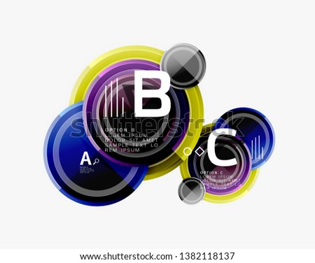 Colorful glossy circles background. Vector #1382118137