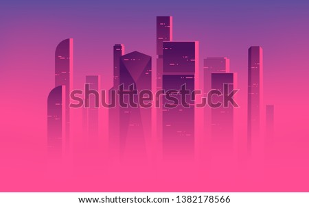 Minimalist vector illustration of a skyscrapers above the clouds, city highrises in a misty fog. Royalty-Free Stock Photo #1382178566