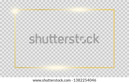 Golden shiny glowing frame isolated on transparent background. Decorative gold square elements for branding, card, invitation. Golden vintage luxury realistic rectangle border. #1382254046