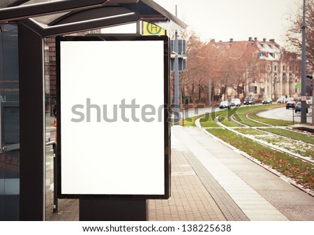 Billboard, banner, empty, white at a bus stop #138225638