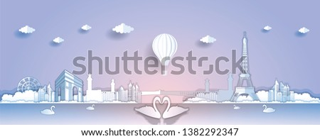 Panorama paper art style vector of Famous Landmarks France for Travel banner or postcard illustration #1382292347