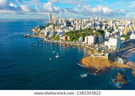 SALVADOR, BAHIA, BRAZIL - MAR 8, 2019: Aerial drone view of Salvador da Bahia cityscape, Barra and lighthouse. #1382303822