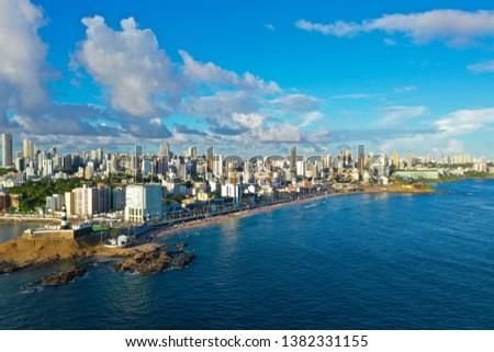 SALVADOR, BAHIA, BRAZIL - MAR 8, 2019: Aerial view of Salvador da Bahia cityscape, Barra lighthouse  #1382331155
