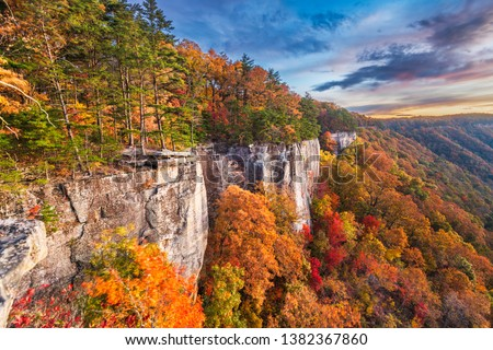 New River Gorge, West Virginia, USA autumn morning landscape at the Endless Wall. #1382367860