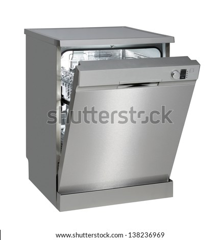 Modern freestanding dishwasher isolated on white with clipping path. #138236969