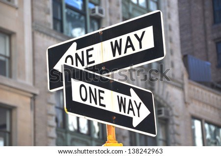 Two one-way signs on the street