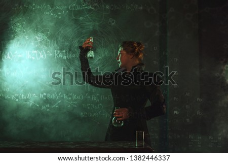 Scientist researcher with a flask of radioactive material. The study of radioactivity. Image in the style of Marie Curie, a famous scientist #1382446337