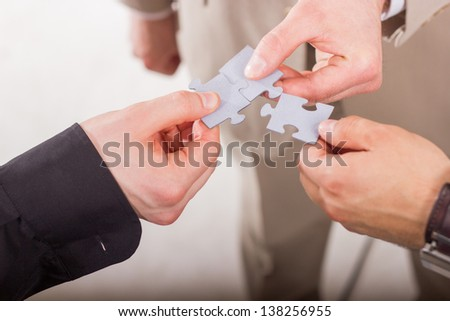 Group of business people assembling jigsaw puzzle. Teamwork. On white background. #138256955