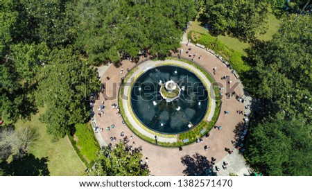 Aerial view of the fountain at Forsyth Park in Savannah, Ga #1382571470