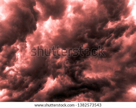 beautiful image of red storms on sky, clouds of rain, dark storms clouds