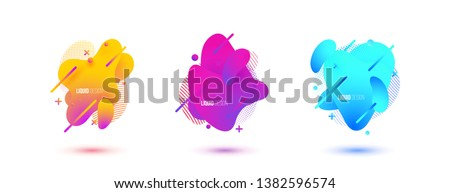 Abstract design set of liquid shapes. Fluid vector design. Gradient flyer, banners with flowing liquid shapes. Modern presentation template. #1382596574