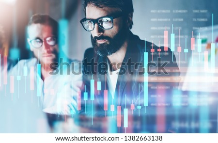 Double exposure.Two stock traiders making analysis of digital market and investment in block chain crypto currency. Stock trade concept #1382663138