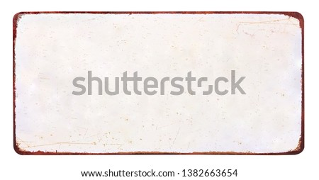 Old blank enameled plate mockup or mock up template grunge, isolated on white background including clipping path