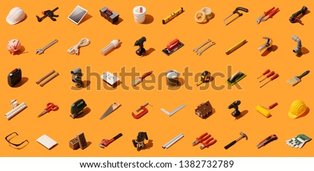 Do it yourself, construction and home renovation background with isometric tools and objects #1382732789