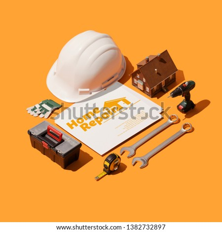 Home repair professional service with business cards, isometric tools and equipment