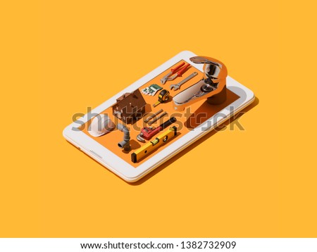 Home repair and plumbing service app: isometric plumber tools and hardware on a smartphone #1382732909