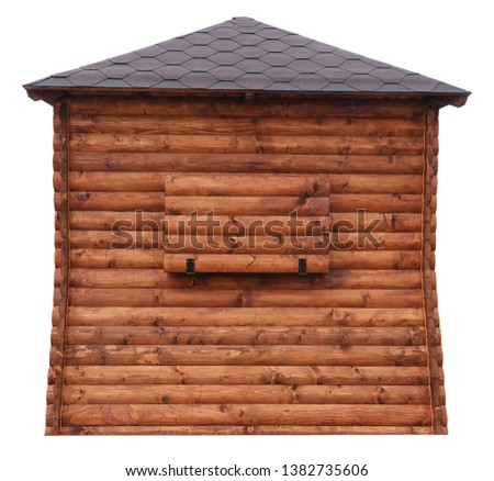 Wooden market stand stall made of natural wooden beams tree hut isolated on white #1382735606